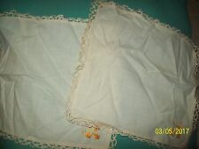 "Vintage Matching Lot of 2 Floral Embroidered Square Cream 10 x 10"" Doilies-HTF"