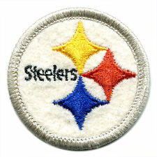 "1970'S PITTSBURGH STEELERS NFL FOOTBALL 2"" ROUND TEAM LOGO PATCH SILVER BORDER"
