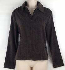 Craft & Barrow Stretch Womens Brown Zip Up Suede Cloth Unlined Jacket Size S