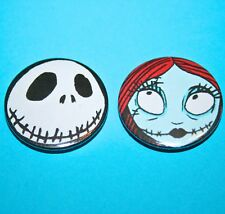 SET OF 2 NIGHTMARE BEFORE CHRISTMAS JACK SALLY SKELETON BUTTON BADGES