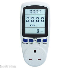 NEW LCD Power Meter Energy Kilowatt-Hour Monitor W/kWh/volts/amps/hertz UK Plug