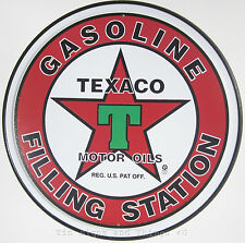 Texaco Gasoline Filling Station ROUND TIN SIGN gas vintage star garage decor 205