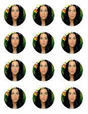 "KATY PERRY CUPCAKE TOPPERS 12 x 2"" CIRCLES EDIBLE ICING PARTY DECORATION IMAGE"