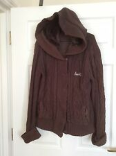 Ladies Airwalk brown cable knit hooded cardigan uk size 16