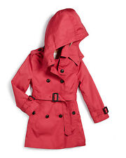 BNWT BURBERRY Girls' Buckingham Hooded Twill Trench Coat Bright Rose 6Y 450