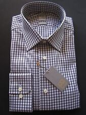$265 NWT NEW GOLD Luxury Ike Behar Neiman Marcus Check Dove Shirt 15.5 LS 32/33