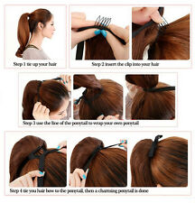 Wrap Around Ponytail Soft Real Natural Silky  Clip in Hair Extensions Straight