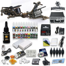 Pro Complete Tattoo Machine Kit 2 LUO'S Gun 21 Ink Power Supply Case Needle Set