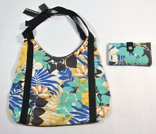 Hurley LEILANI Black Blue Yellow Tan Floral Shoulder Bag Tote Purse & Wallet