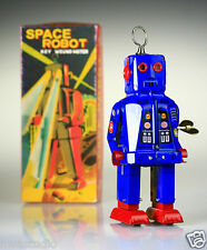 MS403 Blue Tin Space Ring Robot Silver Yoshiya Sparky Vintage Windup replica