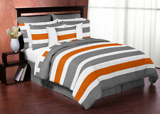 Sweet Jojo Modern Gray Orange & White Queen Size Comforter Set Bedding Ensemble