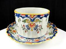 "ROUEN SIGNED FRENCH FAIENCE MULTI FLORAL 3 1/8"" GRAVY CUP & ATTACHED UNDERPLATE"