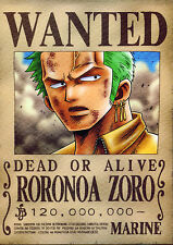 POSTER A4 PLASTIFIE-LAMINATED(1 FREE/1 GRATUIT)*MANGA ONE PIECE WANTED ZORO RORO