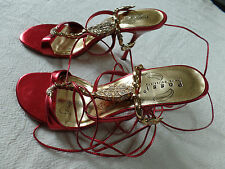 Womens ladies strappy red evening prom party shoes size 6,5 UK 39/40 EU