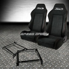 2X SUEDE TYPE-R RECLINABLE RACING SEATS+BRACKET FOR CIVIC EJ/EK/EH/INTEGRA DB DC