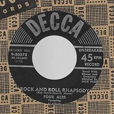 FOUR ACES-DECCA-45 RPM-ROCK AND ROLL RHAPSODY/I WISH I MAY I WISH I MIGHT EX !!