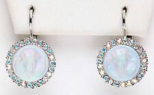 KIRKS FOLLY DREAM ANGEL MOONLIGHT LEVERBACK EARRINGS silvertone / light blue