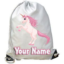 PINK UNICORN CHILDS PERSONALISED GYM / SWIMMING / PE BAG - KIDS GIFT & NAMED TOO