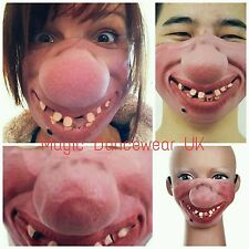 Halloween Clown Mask Hillbilly Teeth Big Nose Latex Geek Costume Half Face Stag