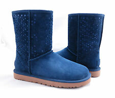 UGG Australia Classic Short Flora Perf Navy Blue Fur Boots Size 10 *NEW IN BOX*
