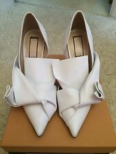 **NO21** White Leather Half D'Orsay Heels Pumps Shoes Bridal Wedding