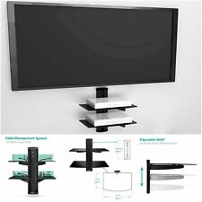 2 Floating Shelves Large Wall Mount Tempered Glass TV Accessories DVD Player New