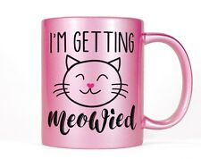 Cute Pink Cat Engagement Gift, Getting Meowied Metallic Coffee Mug Bride Wedding