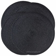 Set of 4 Woven Black Round Fabric Placemats Dining Table Place Settings Mats