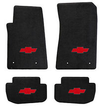 NEW! BLACK Floor Mats 2010-2015 Camaro Embroidered RED Bowtie Logo on all 4 mats