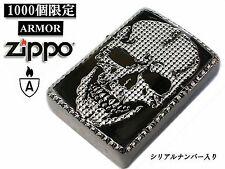 Zippo Studs Skull Armor Case White Black Nickel Japan 1000 Limited Edition F/S