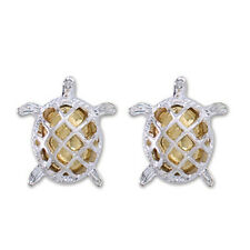 PERIWINKLE by BARLOW Silver & Gold Swimming Sea TURTLE Stud Earrings NWT
