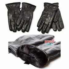 New Winter Men's Faux Leather Super Thick Warm Faux Fur Lined Warm Gloves Black