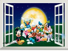Disney Mickey Minnie Goofy 3D Window Wall Decals Removable Sticker Kids Decor