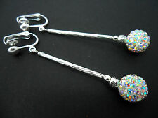 A PAIR OF LONG DANGLY WHITE SHAMBALLA STYLE  SILVER PLATED CLIP ON EARRINGS.