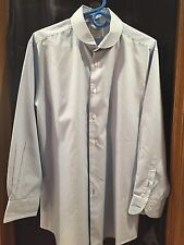 Men's T.M. Lewin Dress Shirt,Slim Fit 17/36,Button Cuff, 100% Cotton, Blue Strip