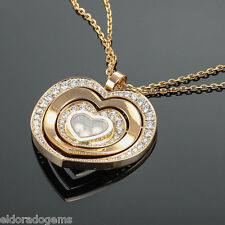 CHOPARD HAPPY DIAMONDS HEART PENDANT NECKLACE 797221-5002 18K ROSE GOLD $18550