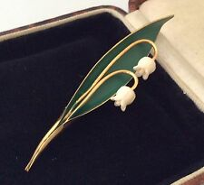 Vintage Jewellery Enamel & Celluloid Lily Of The Valley Flowers Brooch