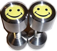 "Two Hole Pins. 1/2"" to 1-1/8"" Knurled, small, Aluminum, Smily Face. By Jermamma."