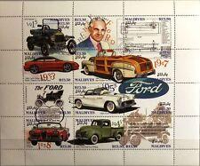 MALDIVES MALEDIVEN 1993 Klb 2038-49 Block 298 Ford Automobile Autos Cars MNH