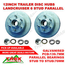 Trailer Disc Hubs 12 inch Landcruiser parallel Galvanised 6 stud hubs