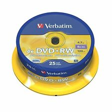 VERBATIM DVD+RW 4.7 GB 4x Velocità 120MIN Rewritable DVD DISC SPINDLE PACK 25 (43489