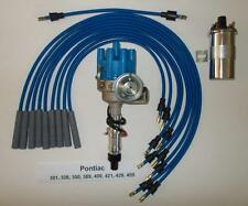 PONTIAC 350-389-400-455 BLUE Small Electronic Distributor,40k Coil & PLUG WIRES