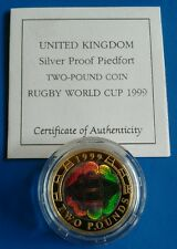 1999 £2 RUGBY WORLD CUP SILVER PROOF PIEDFORT COIN