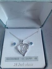 Sterling Silver And Lt. Sapphire Heart Pendant Necklace & Stud Earring Set