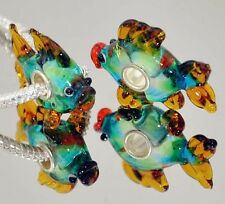 Sterling Silver Core MURANO GLASS TROPICAL FISH  Bead fits all