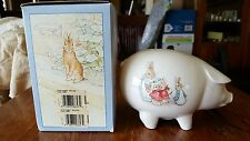 Beatrix Potter Wedgwood Peter Rabbit Pig Piggy Bank England NEW in Box Rare