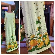 Vintage Alfred Shaheen 60s 70s Yellow Polka Dot Flowers Signed Poppy Roses M L