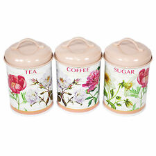Flower Garden Floral Tea Coffee Sugar Canisters Kitchen Storage Jars Vintage Set