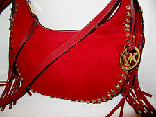 Michael Kors Rhea Grommet Studded Small Slouchy Dark Red Suede Shoulder Bag $448