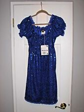 New! BETSEY JOHNSON Girls Indigo Sequin Dress with Puffed Sleeves Size 10